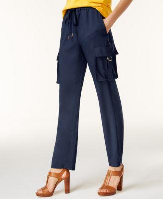 womens cargo pants michael michael kors petite cady pull-on cargo pants SAOWOAC