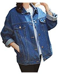 womens denim jacket loose women blue washed pocket button boyfriend denim jacket coat HTUAUST