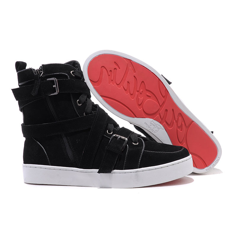 womens high top sneakers personality christian louboutin spacer flat high top womens sneakers black  suede HJRTVCP