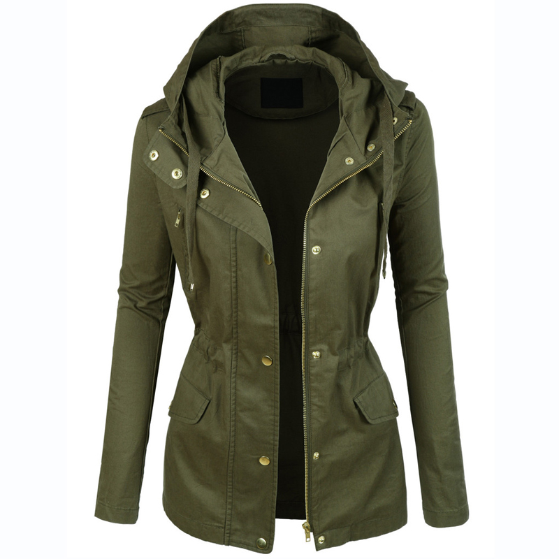 womens military anorak jacket with hood lightweight women jacket 2016  fashion casual ladies jackets FGUALWK