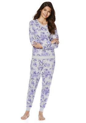 womens pyjamas fu0026f floral print twosie - grey u0026 purple FACDHXD