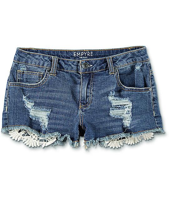 womens shorts abigail dark wash crochet pocket shorts KYAPEUO