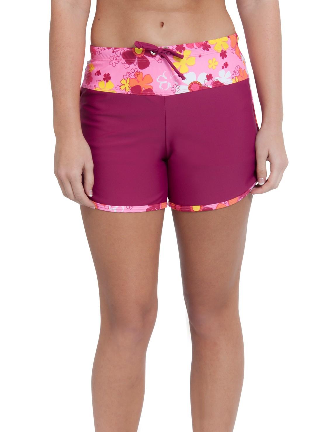womens swim shorts womenu0027s swim shorts - daisy pink WSMWDUM