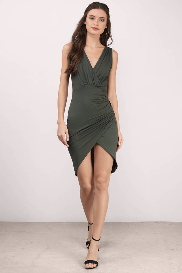 wrap dresses, olive, candis v-neck wrap dress ... IGNMZFB