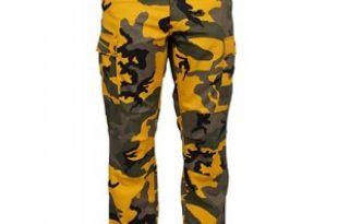 yellow camo pants AQZIMRY