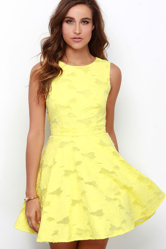 yellow dresses cute yellow dress - skater dress - jacquard dress - $76.00 LRGXGTD