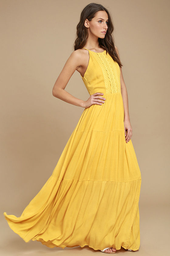 yellow dresses lulus. for life golden yellow embroidered maxi dress SJOVTKY
