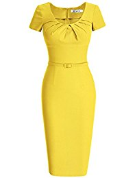 yellow dresses muxxn womenu0027s 1950s vintage short sleeve pleated pencil dress FSRSOHZ