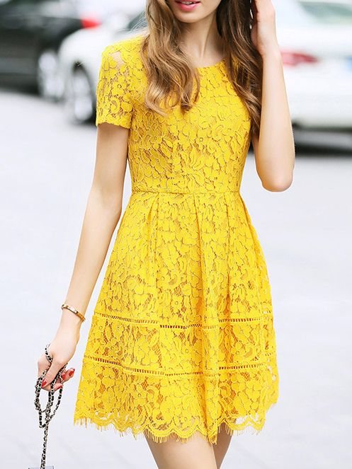 yellow dresses yellow crew neck a-line lace dress YQVOAPN