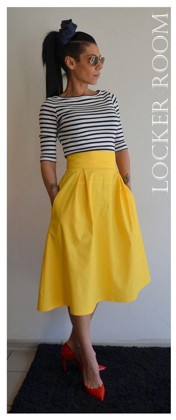 yellow skirt a-line spring maxi skirt /yellow maxi skirt /high waist skirt /over size  woman skirt VHDGAES