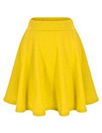 yellow skirt basic solid stretchy cotton high waist a-line flared skater mini skirt QWNNDLZ