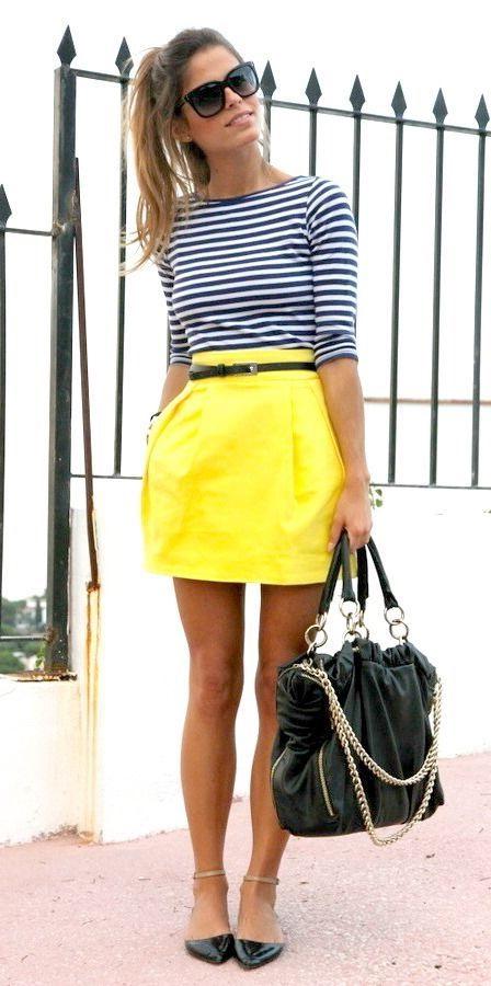 yellow skirt black-white striped top is tucked in yellow mini skirt: SSONQLG