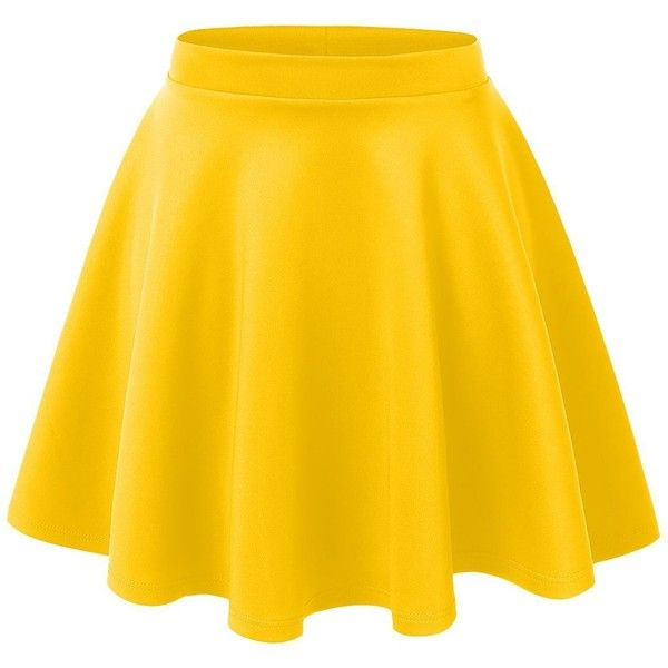 yellow skirt rubyk womens casual flared color skater skirt ($8.99) ❤ liked on polyvore  featuring skirts MAZGQOJ