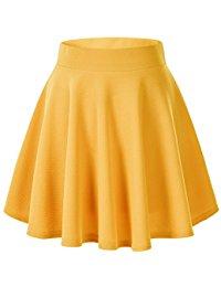yellow skirt womenu0027s basic solid versatile stretchy flared casual mini skater skirt VNCGONN