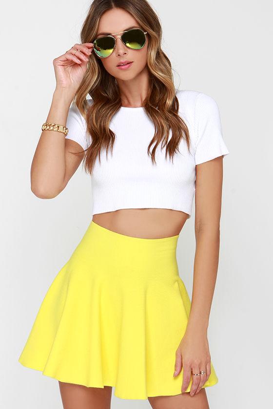 yellow skirt - yellow skater skirt - knit skater skirt - $42.00 EBSYHNO