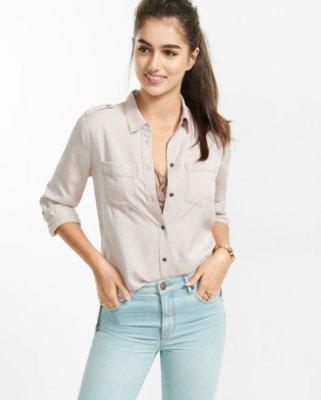 you may also like. silky soft twill boyfriend shirt DEOAMVI