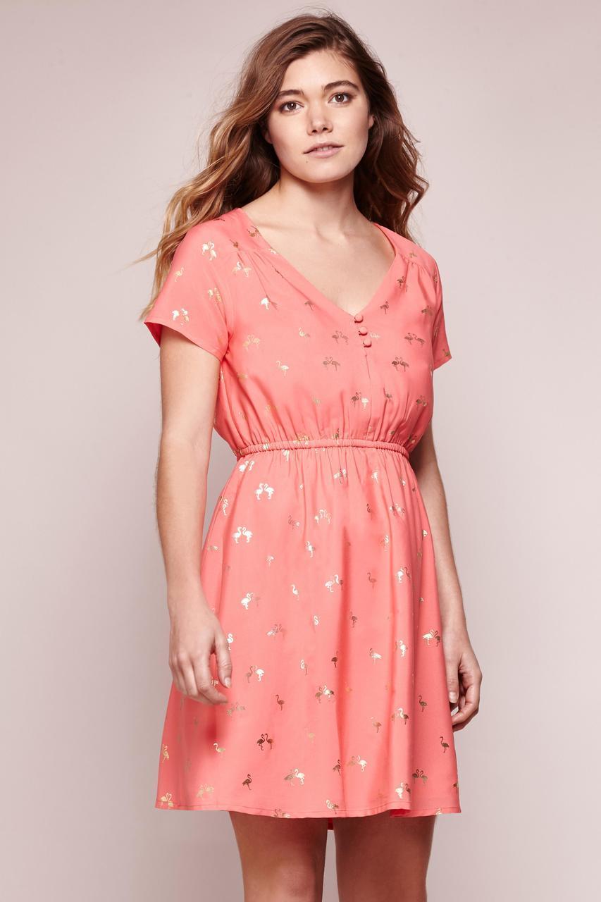 yumi dresses gold foil flamingo tea dress QEZDRPU