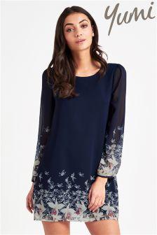 yumi dresses yumi floral bird tunic dress EFUELUT