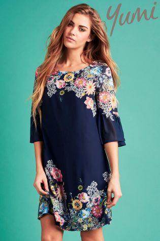 yumi dresses yumi floral flared sleeve tunic dress XDHAKXE