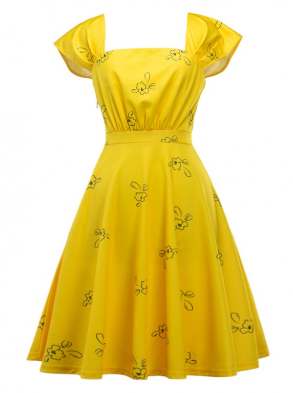 -54% yellow 50s square neck flower print puff sleeves vintage dress ENYLYWK
