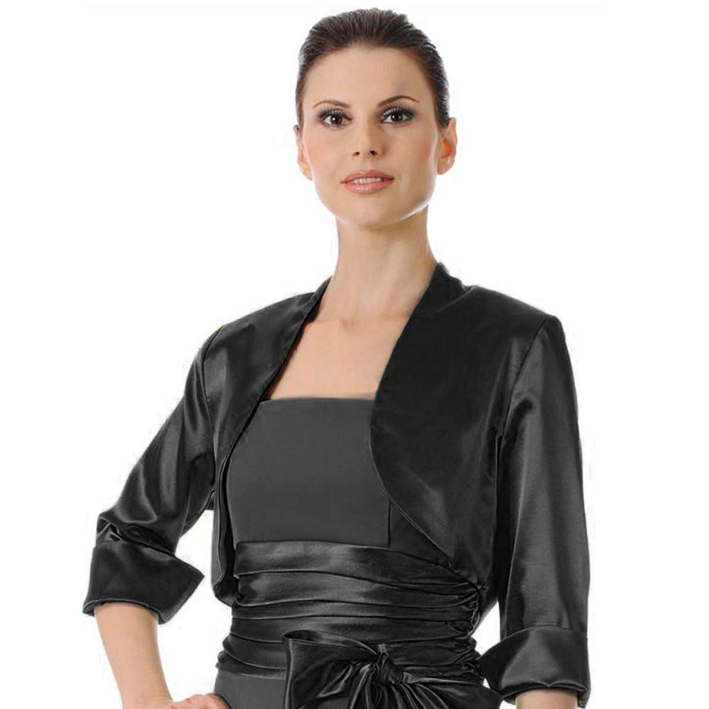 ... mid length sleeve black satin bolero jacket shrug ... FNFQALK