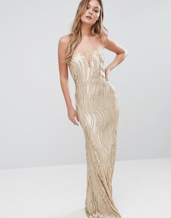 ... tfnc tfnc bandeau maxi dress in wave sequin DJCDMXI