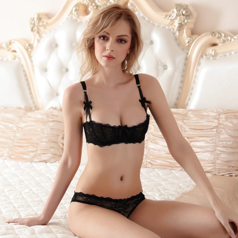 ... ultra-thin sexy lace transparent half cup bra sets lingerie no pad (4)  ... DUQCZTI