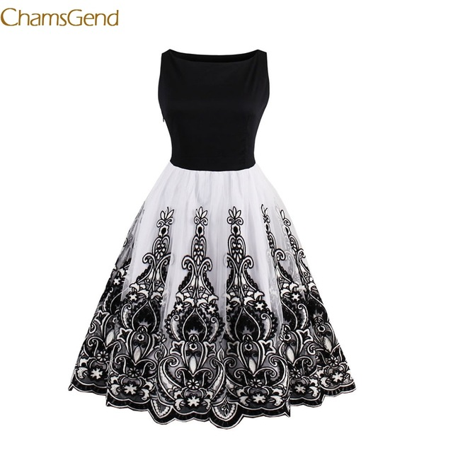 1940s style dresses 2017 summer women vintage 1940s style dress floral print white party dress  black elegant AGKTMLV
