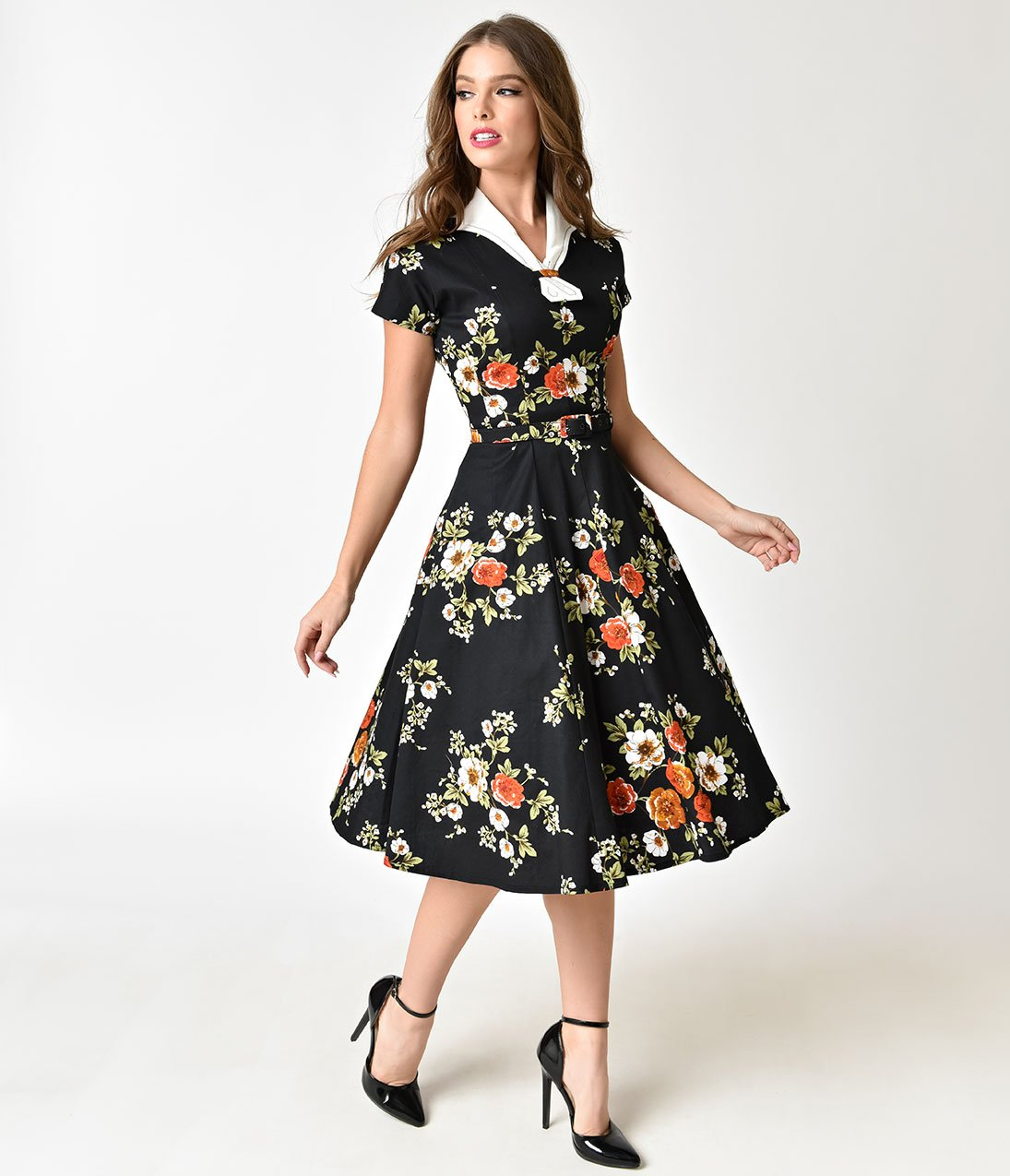1940s style dresses | 40s dress, swing dress 1940s black floral short  sleeve campbell VIGXBUT