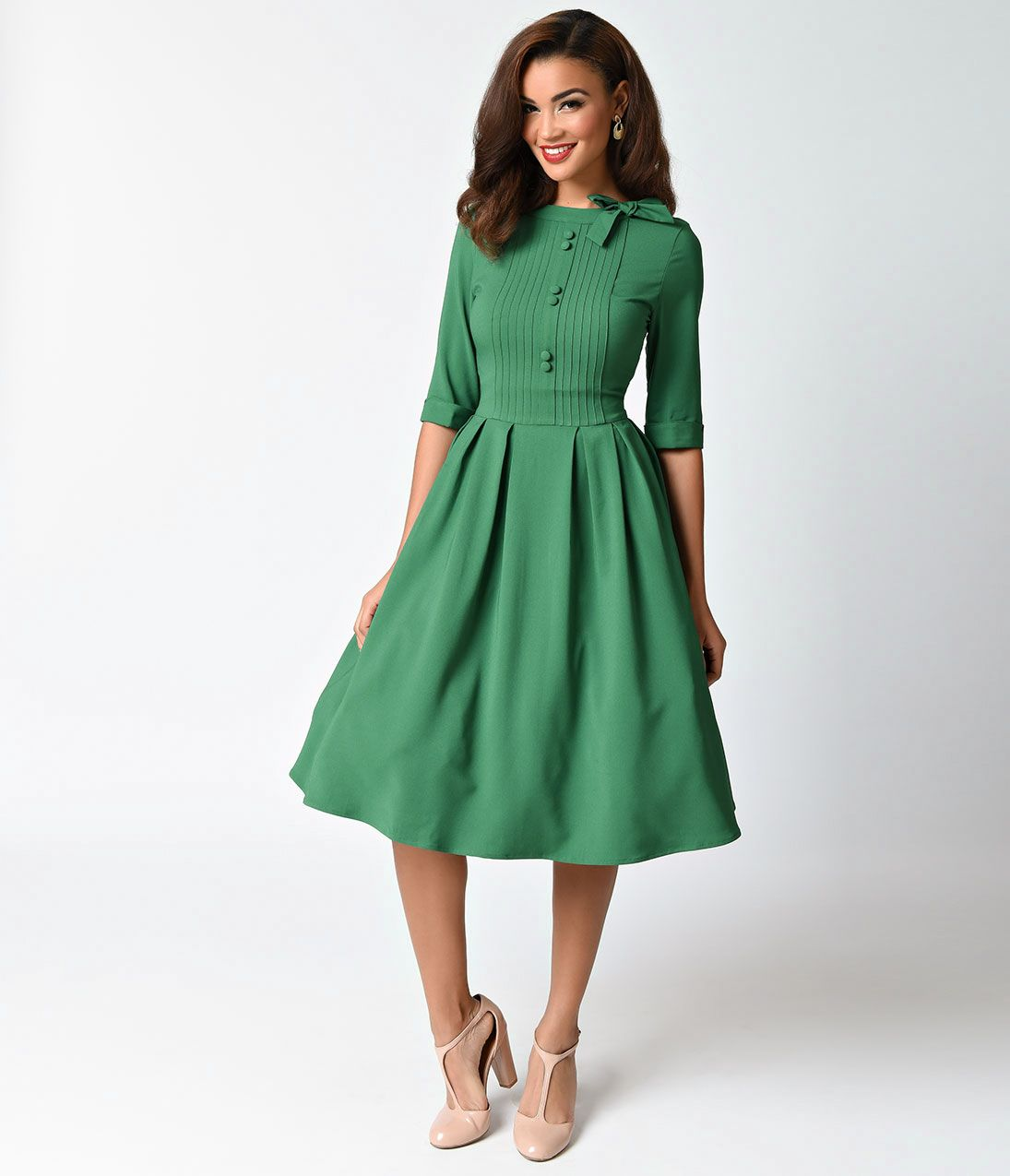 1940s style dresses and clothing hell bunny 1940s style green crepe half  sleeve madison XPQMHWR