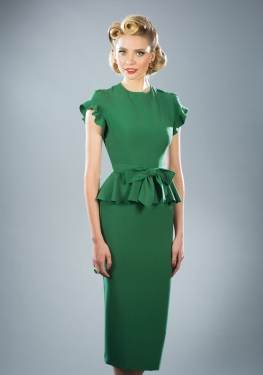 1940s style dresses willow green fitted dress UNFFPDR