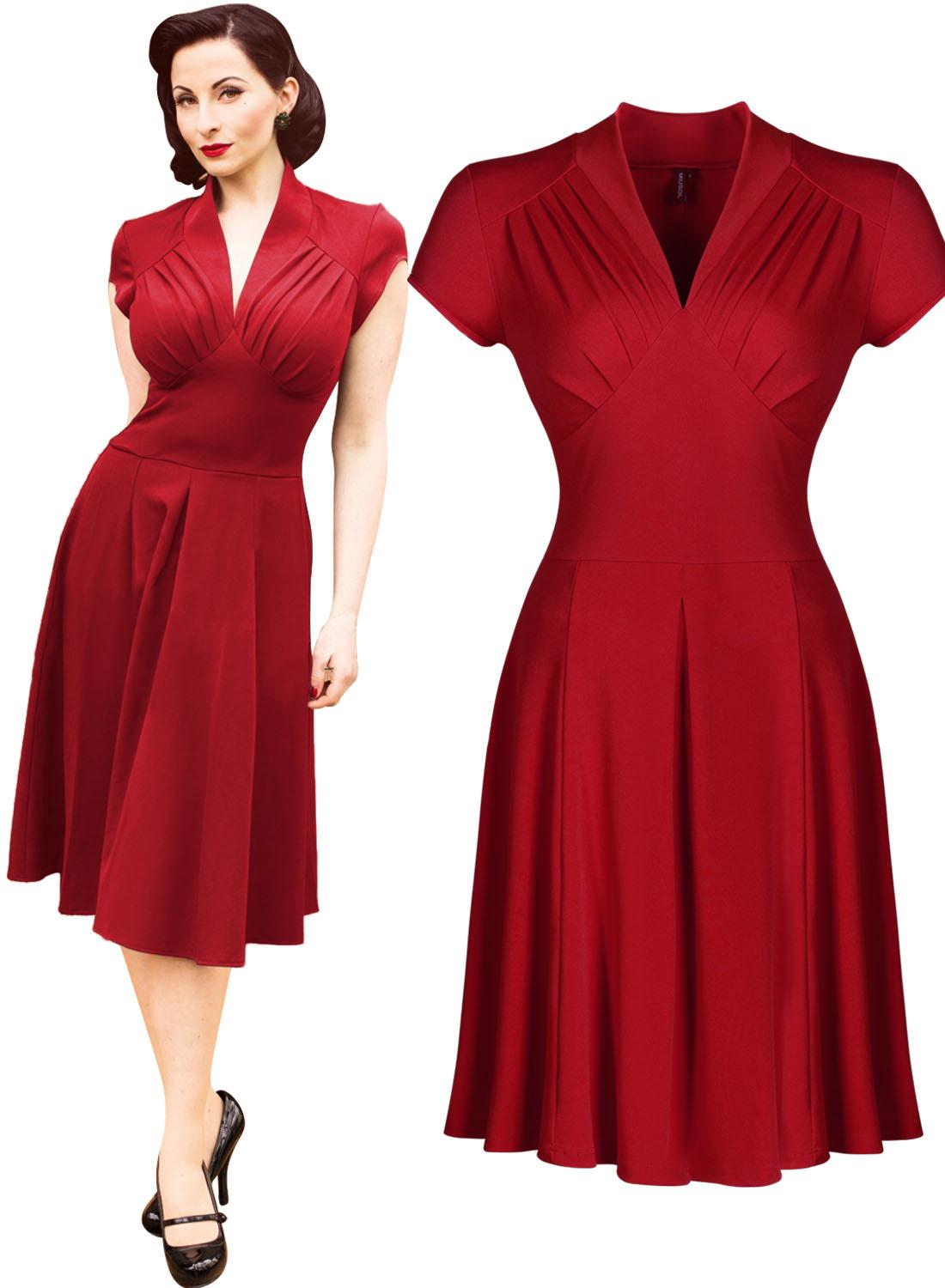 1940s style dresses womenu0027s vintage style retro 1940s shirtwaist flared evening tea dress swing  skaters ball gown DUXFFJV