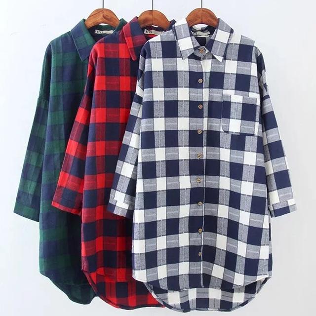 2017 autumn women plaid shirts blouses medium long casual loose vintage  flannel shirt long QVUVVDV