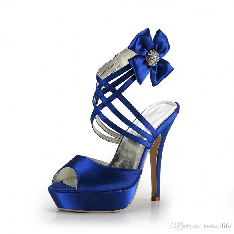 2017 fashion cheap royal blue wedding shoes open peep top platform 13 cm  pumps FDYHRIR