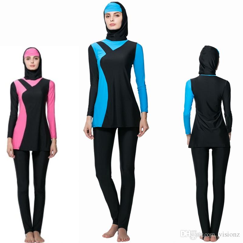 2018 2017 new cheap conservative modest swimsuits for women solid islamic  turkish muslim swimsuit PPINWYM