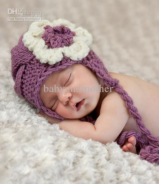 2018 baby crochet hats newborn baby girl hat knit baby hat with flower  photogryphy OJMAPLQ