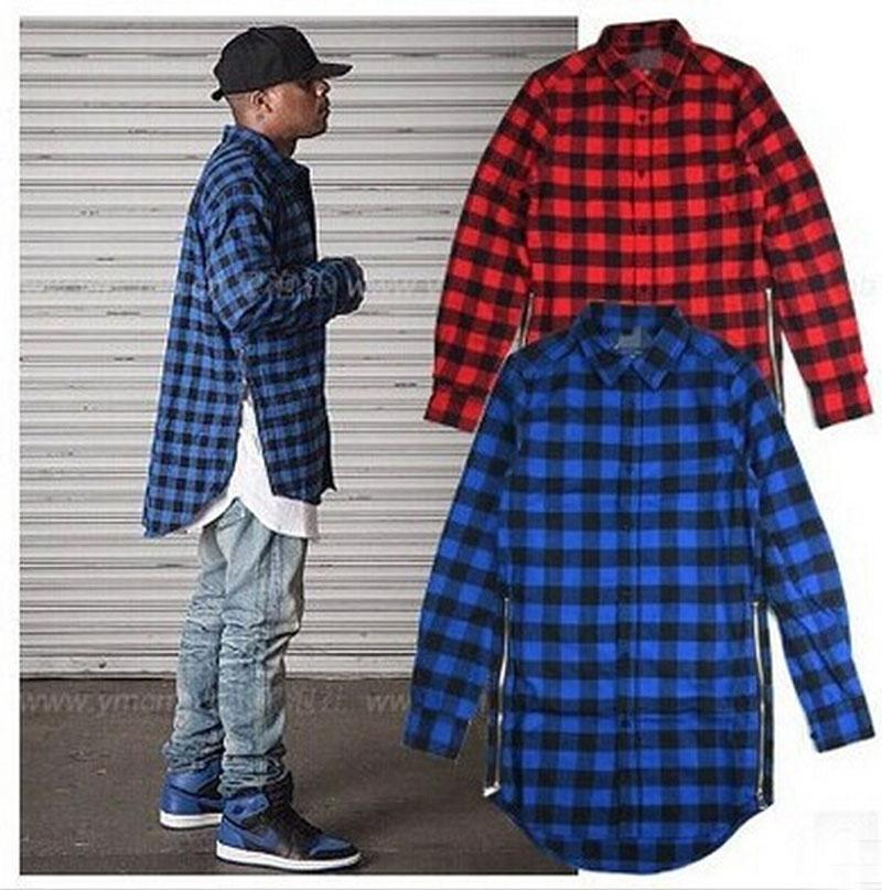2018 hip hop mens red plaid shirts long sleeve side zipper man extended  casual PJQAXKT