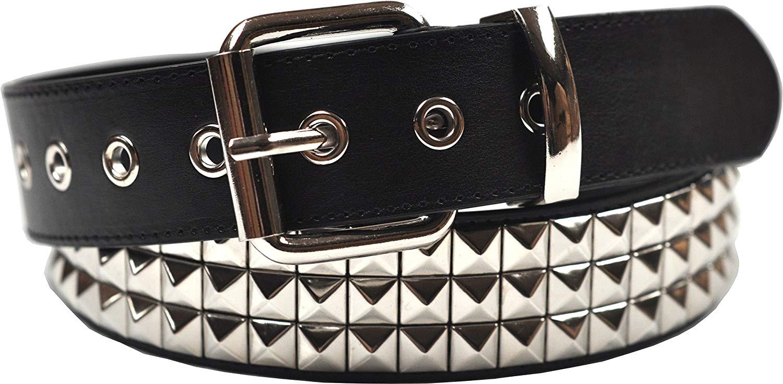 3 row pyramid studded belt, bonded leather black: amazon.co.uk: clothing HKHOVRQ