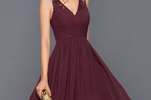 a-line/princess v-neck knee-length chiffon cocktail dress with ruffle IDFPVNN