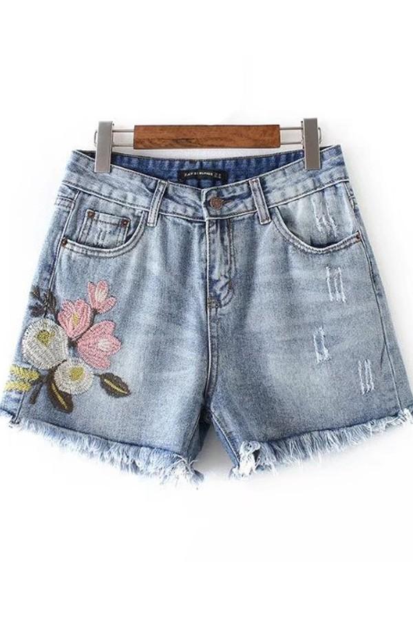 acid wash shorts blue floral embroidered acid wash raw hem denim shorts MRIRPYF