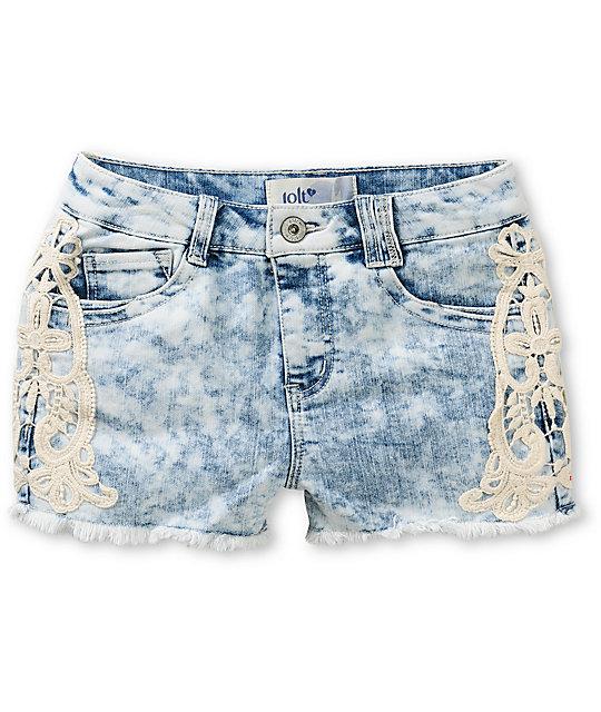 acid wash shorts jolt everly light acid wash crochet denim shorts ... ATNFTPC