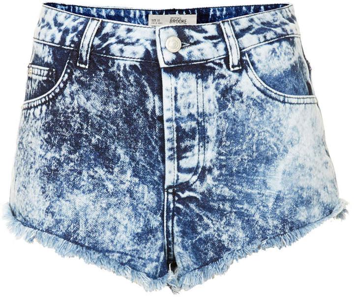 acid wash shorts ... shorts topshop moto brooke high waisted extreme acid wash knicker  hotpants with frayed QFQQKLV
