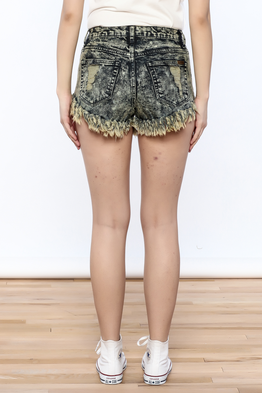 acid wash shorts sneak peek acid-wash denim shorts - back cropped image JMRYCKD