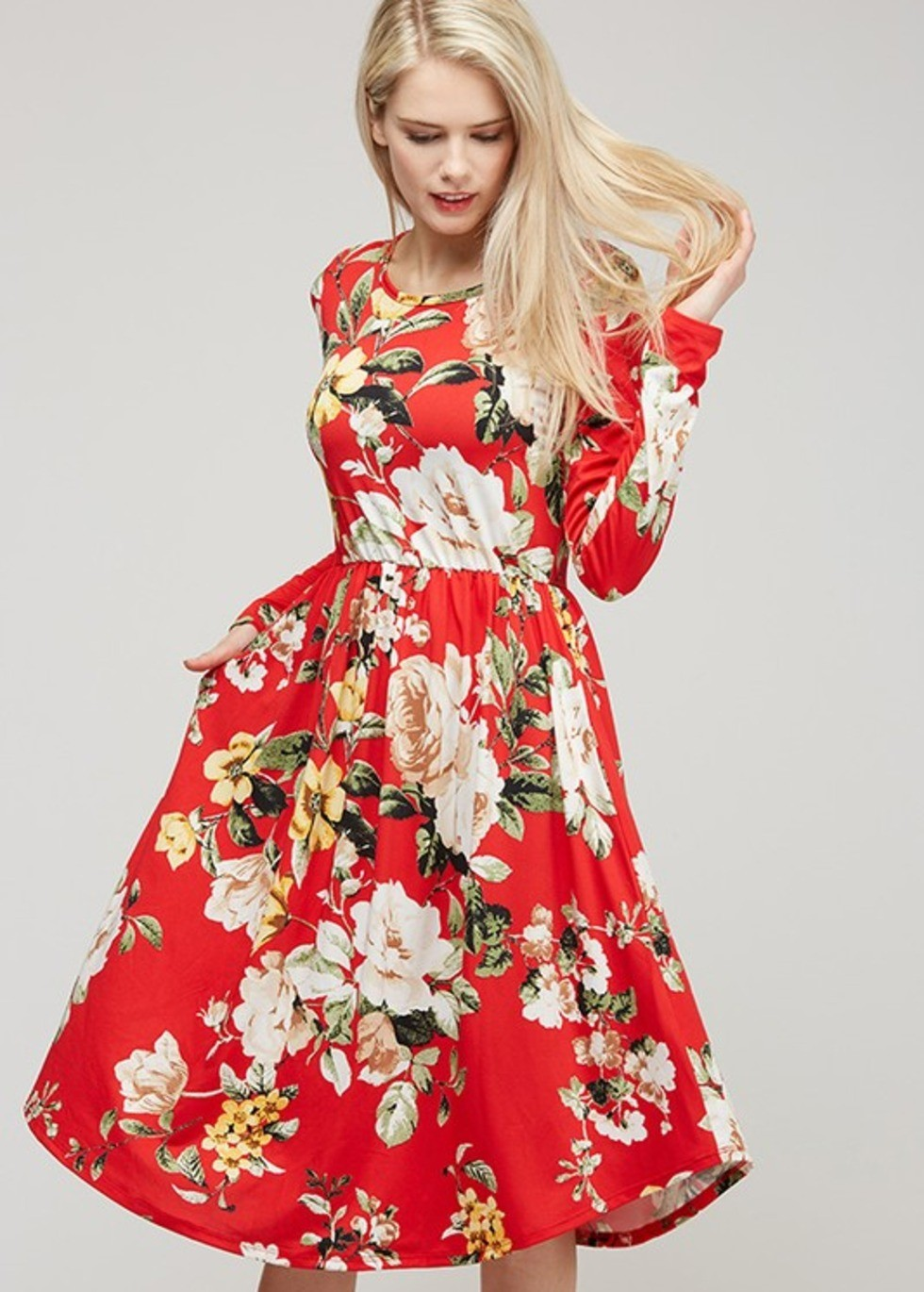 adeline floral dress - red ... BQSPWTM