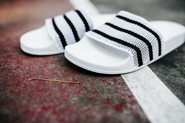 adidas adilette knit slides (white/black) - rock city kicks HTRAALI