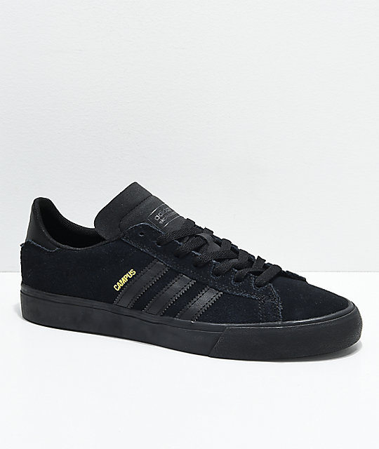 adidas campus vulc ii all black shoes ... ZNQGCET