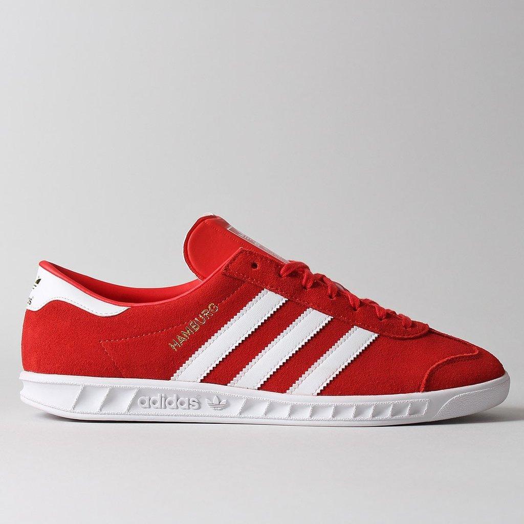 adidas classic shoes adidas-hamburg-originals-red-white-suede-retro-shoes- YYTDIZW