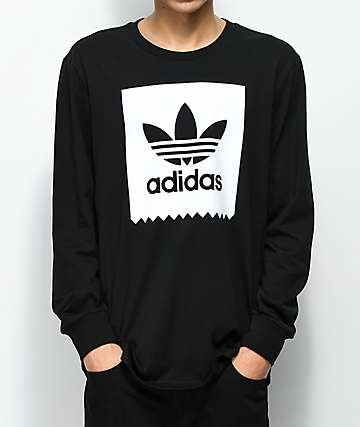 adidas clothing adidas blackbird solid black u0026 white long sleeve t-shirt DMLWWUE
