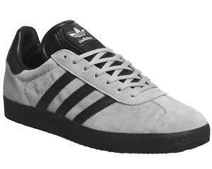 adidas gazelles image is loading mens-adidas-gazelle-trainers-grey-black-exclusive-trainers- STHOWQO