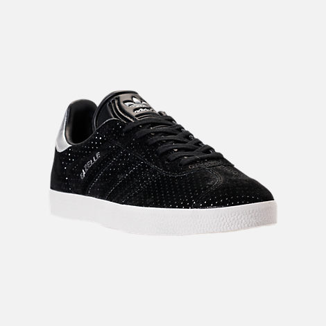 adidas gazelles three quarter view of womenu0027s adidas gazelle casual shoes in core  black/white/silver AWWBMQT